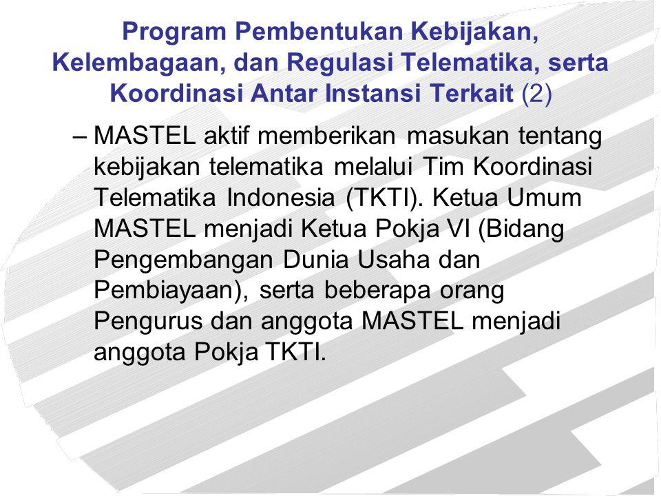 Program Pembentukan Kebijakan, Kelembagaan, dan Regulasi Telematika, serta Koordinasi Antar Instansi Terkait (2)