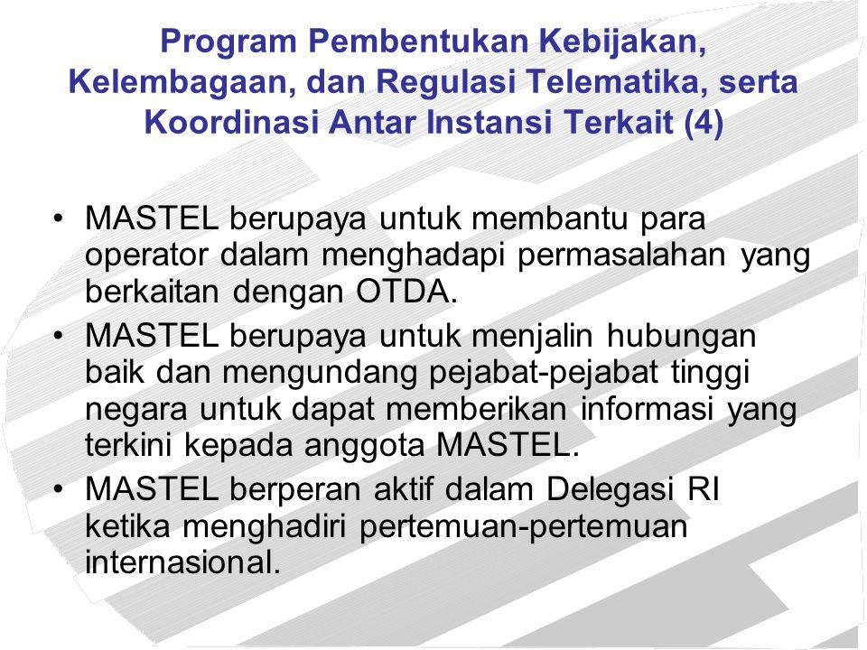 Program Pembentukan Kebijakan, Kelembagaan, dan Regulasi Telematika, serta Koordinasi Antar Instansi Terkait (4)