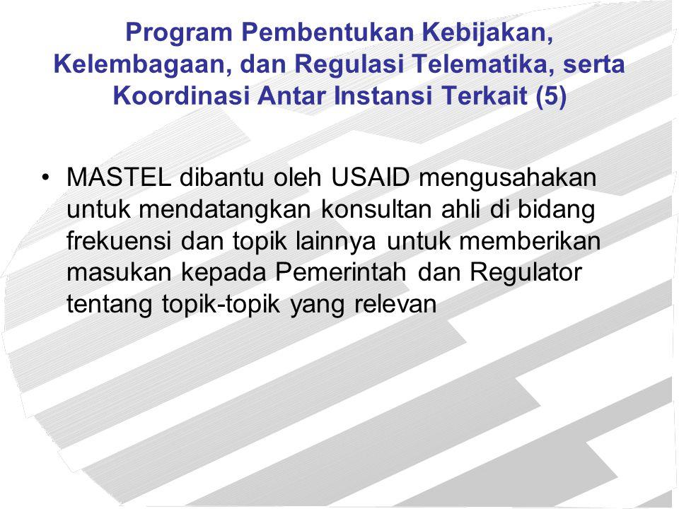 Program Pembentukan Kebijakan, Kelembagaan, dan Regulasi Telematika, serta Koordinasi Antar Instansi Terkait (5)