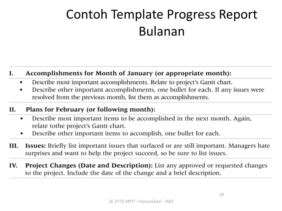 Contoh Template Progress Report Bulanan