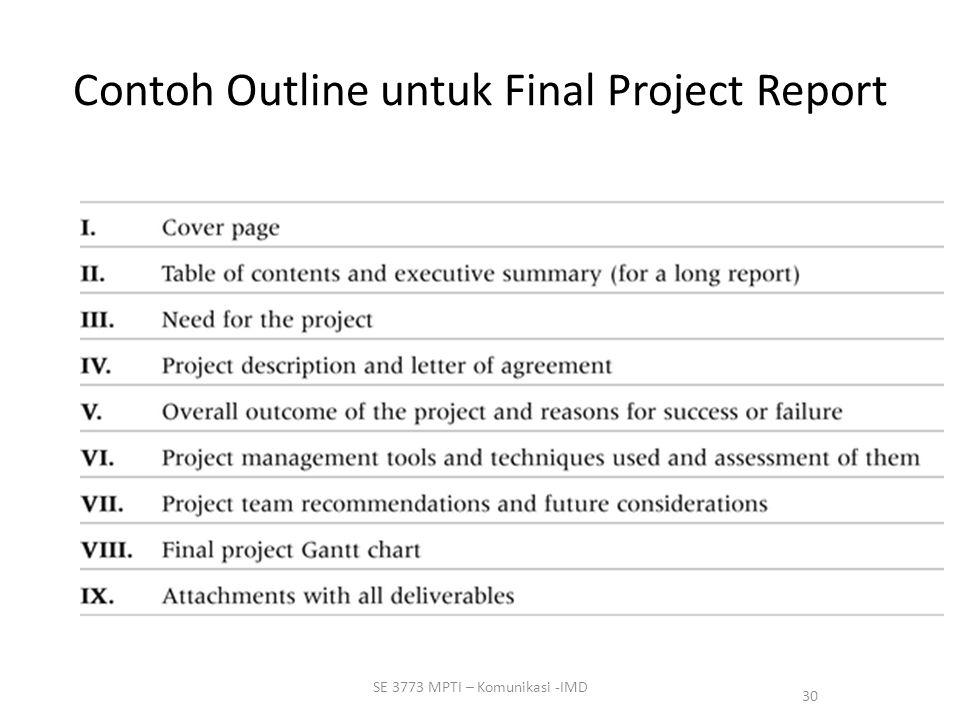 Contoh Outline untuk Final Project Report