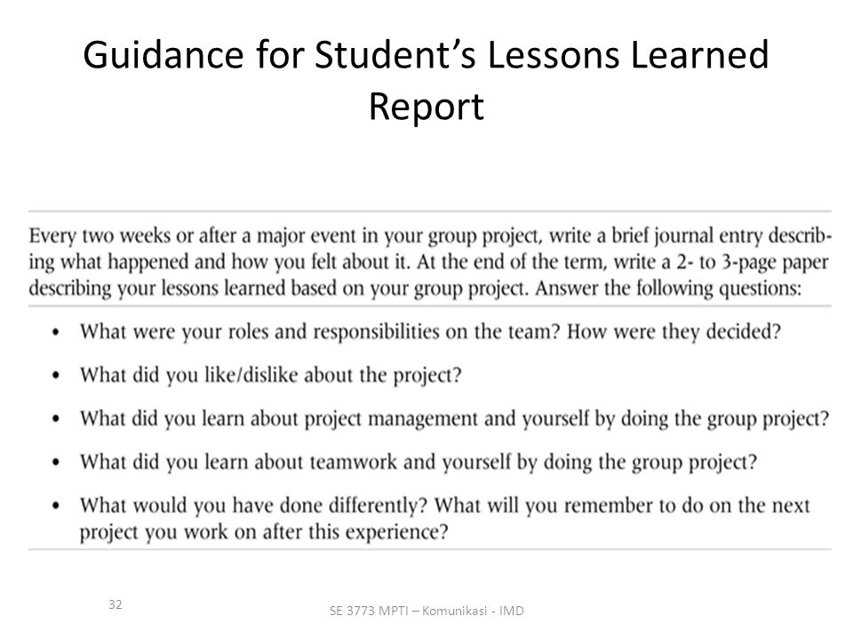 Guidance for Student's Lessons Learned Report