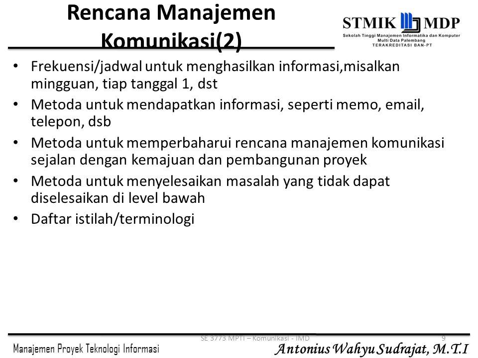 Rencana Manajemen Komunikasi(2)