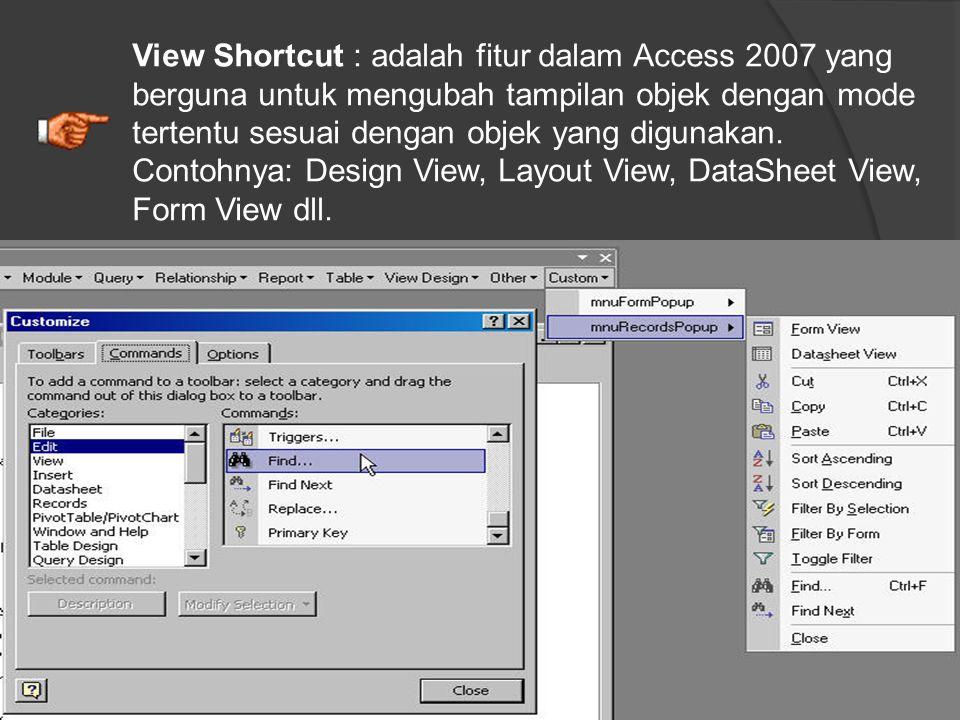 View Shortcut : adalah fitur dalam Access 2007 yang berguna untuk mengubah tampilan objek dengan mode tertentu sesuai dengan objek yang digunakan.