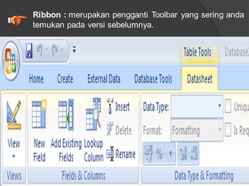 Ribbon : merupakan pengganti Toolbar yang sering anda temukan pada versi sebelumnya.