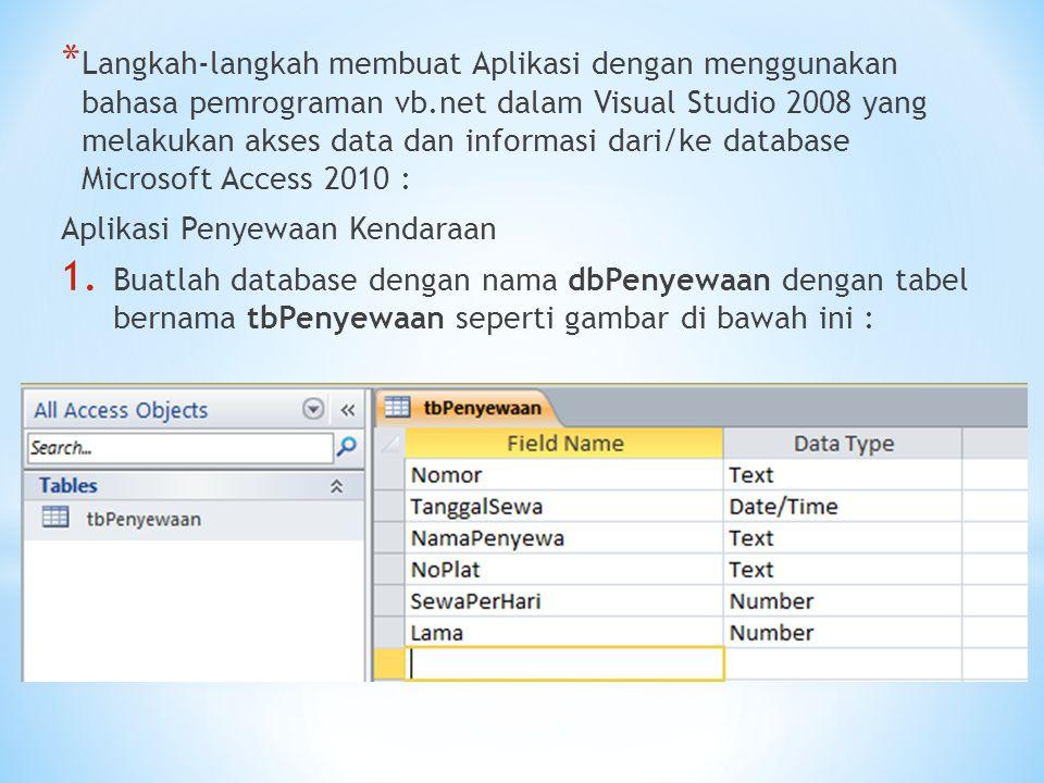 Langkah-langkah membuat Aplikasi dengan menggunakan bahasa pemrograman vb.net dalam Visual Studio 2008 yang melakukan akses data dan informasi dari/ke database Microsoft Access 2010 :