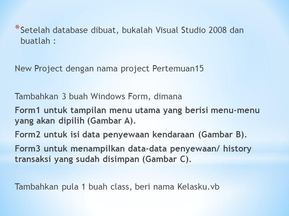 Setelah database dibuat, bukalah Visual Studio 2008 dan buatlah :