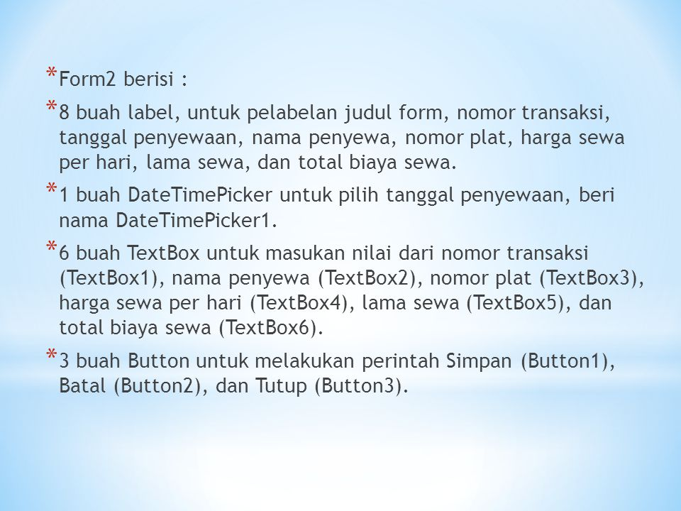 Form2 berisi :