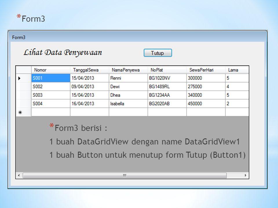 Form3 Form3 berisi : 1 buah DataGridView dengan name DataGridView1.