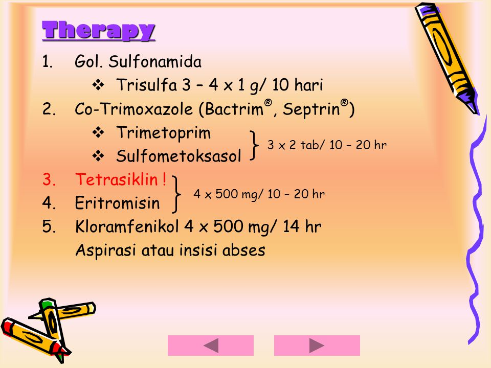 Therapy Gol. Sulfonamida Trisulfa 3 – 4 x 1 g/ 10 hari