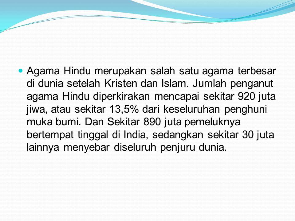 Agama Hindu merupakan salah satu agama terbesar di dunia setelah Kristen dan Islam.