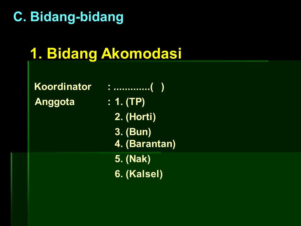 1. Bidang Akomodasi C. Bidang-bidang Koordinator : .............( )