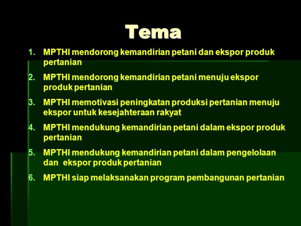 Tema MPTHI mendorong kemandirian petani dan ekspor produk pertanian