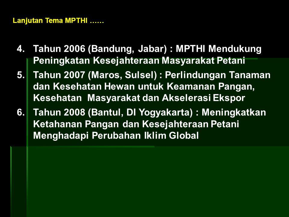 Lanjutan Tema MPTHI …… 4. Tahun 2006 (Bandung, Jabar) : MPTHI Mendukung Peningkatan Kesejahteraan Masyarakat Petani.