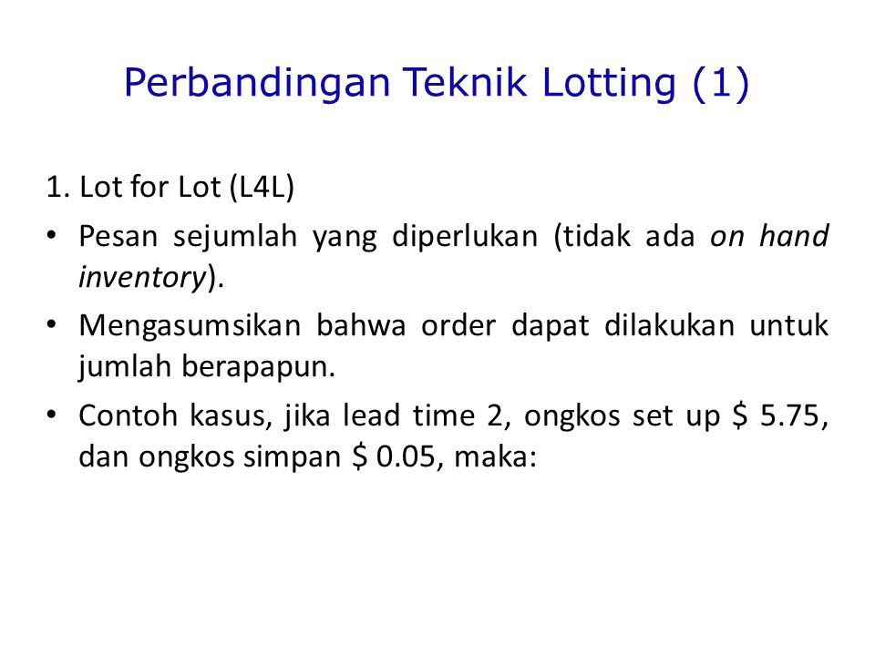 Perbandingan Teknik Lotting (1)