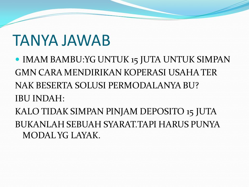 TANYA JAWAB IMAM BAMBU:YG UNTUK 15 JUTA UNTUK SIMPAN