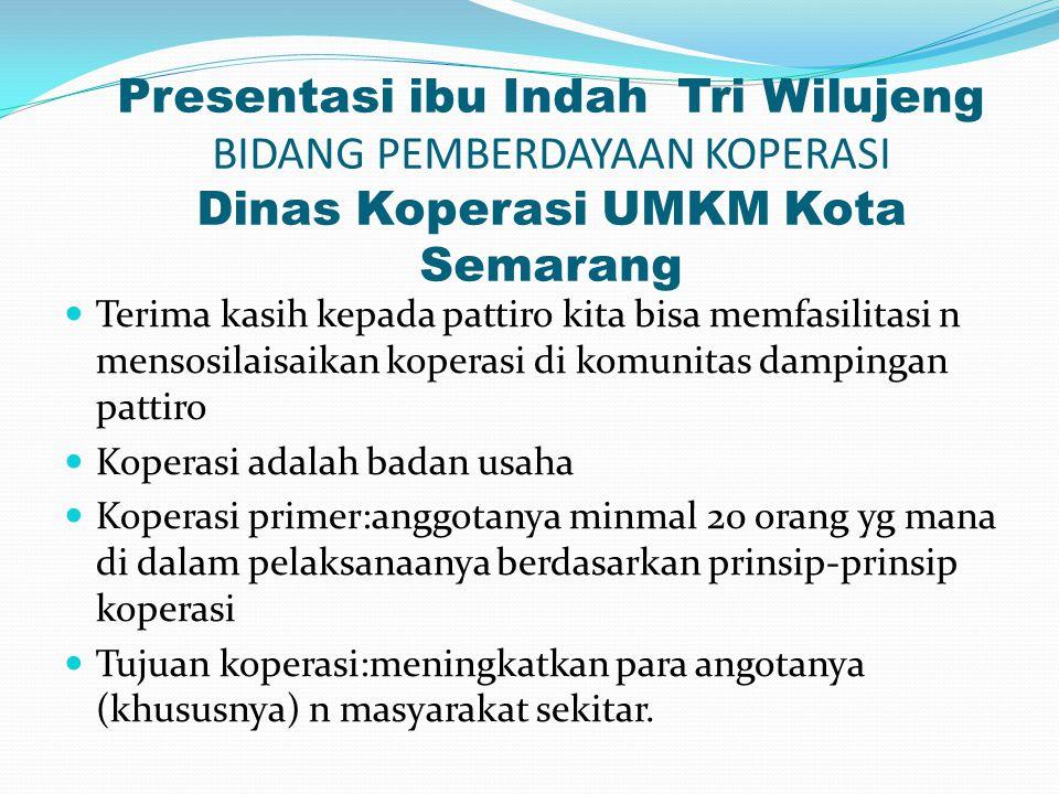 Presentasi ibu Indah Tri Wilujeng BIDANG PEMBERDAYAAN KOPERASI Dinas Koperasi UMKM Kota Semarang