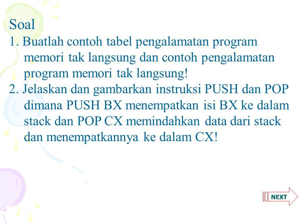 Soal. 1. Buatlah contoh tabel pengalamatan program memori tak langsung dan contoh pengalamatan program memori tak langsung!