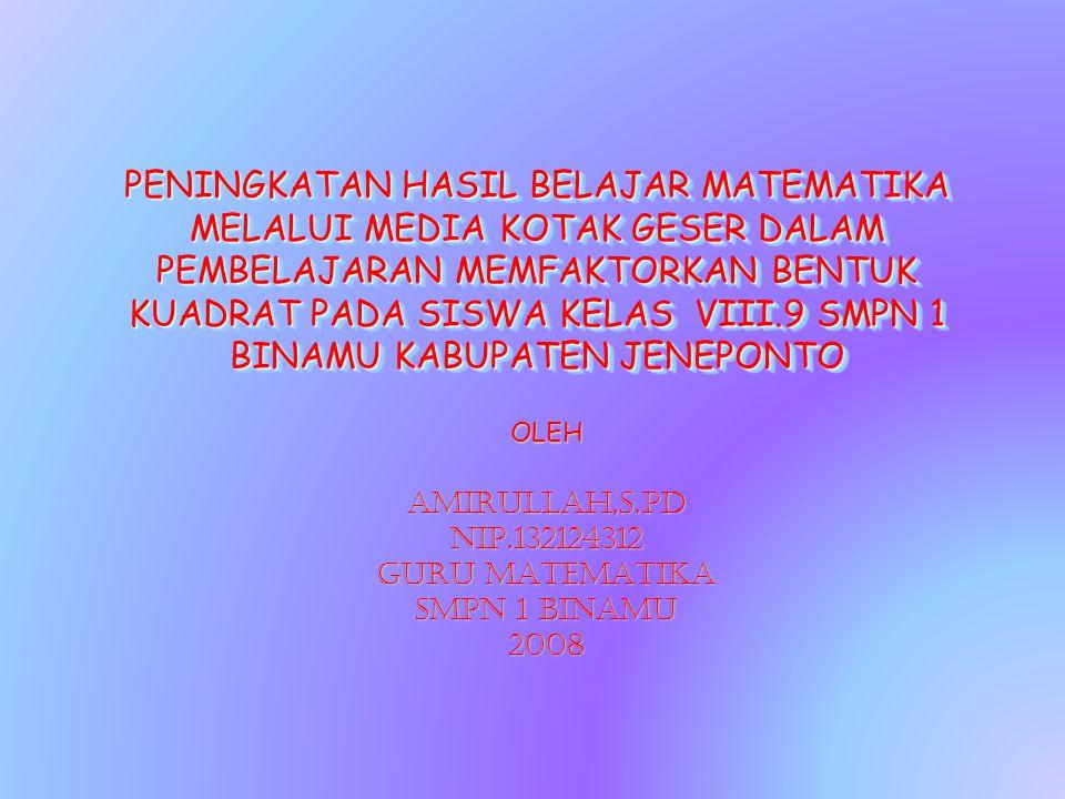 OLEH AMIRULLAH,S.Pd NIP.132124312 GURU MATEMATIKA SMPN 1 BINAMU 2008