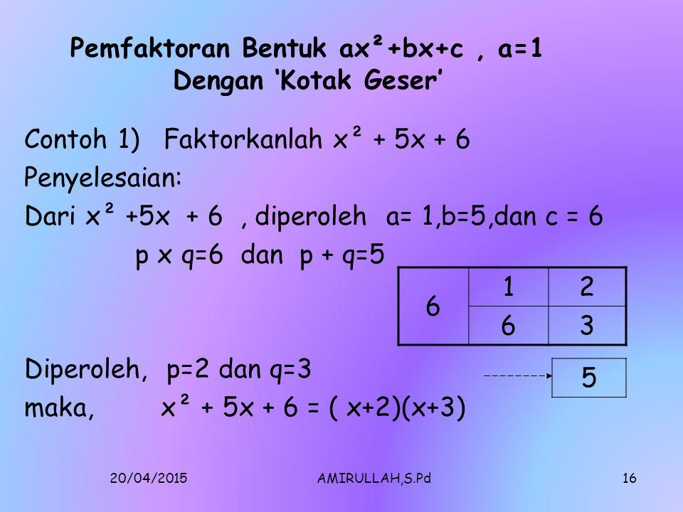 Pemfaktoran Bentuk ax²+bx+c , a=1 Dengan 'Kotak Geser'