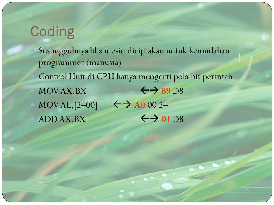 Coding Sesungguhnya bhs mesin diciptakan untuk kemudahan programmer (manusia) Control Unit di CPU hanya mengerti pola bit perintah.