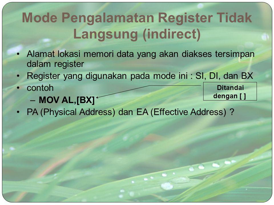 Mode Pengalamatan Register Tidak Langsung (indirect)