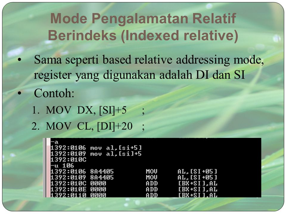 Mode Pengalamatan Relatif Berindeks (Indexed relative)