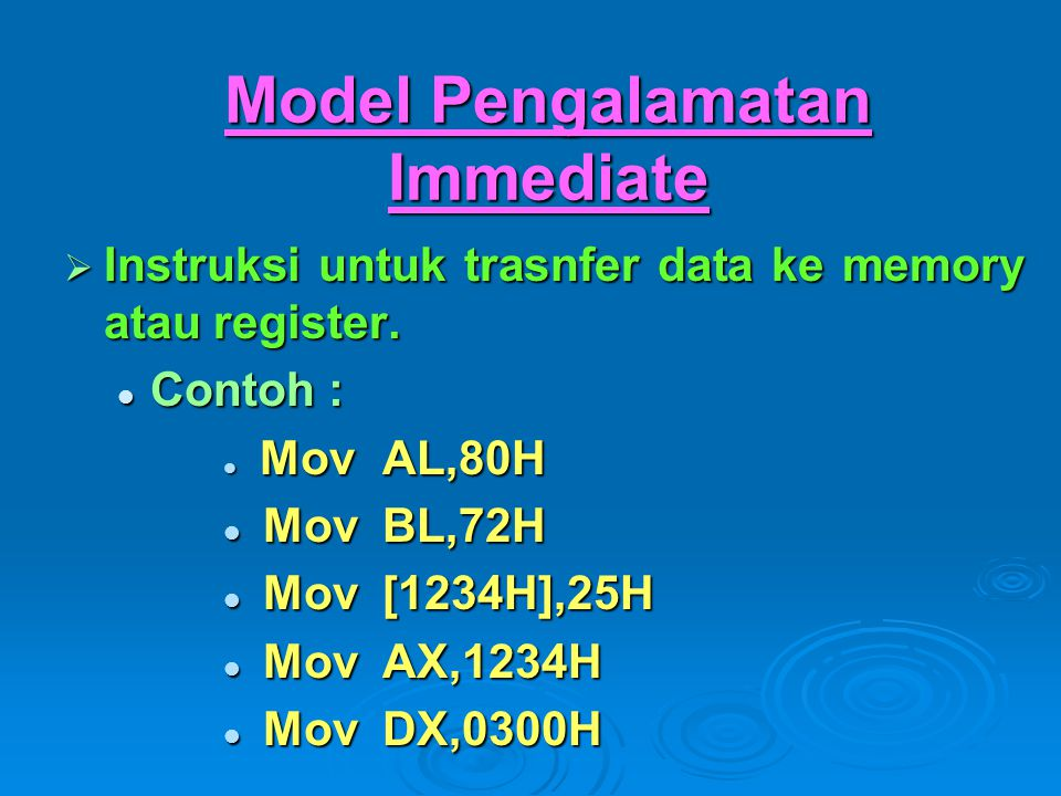 Model Pengalamatan Immediate