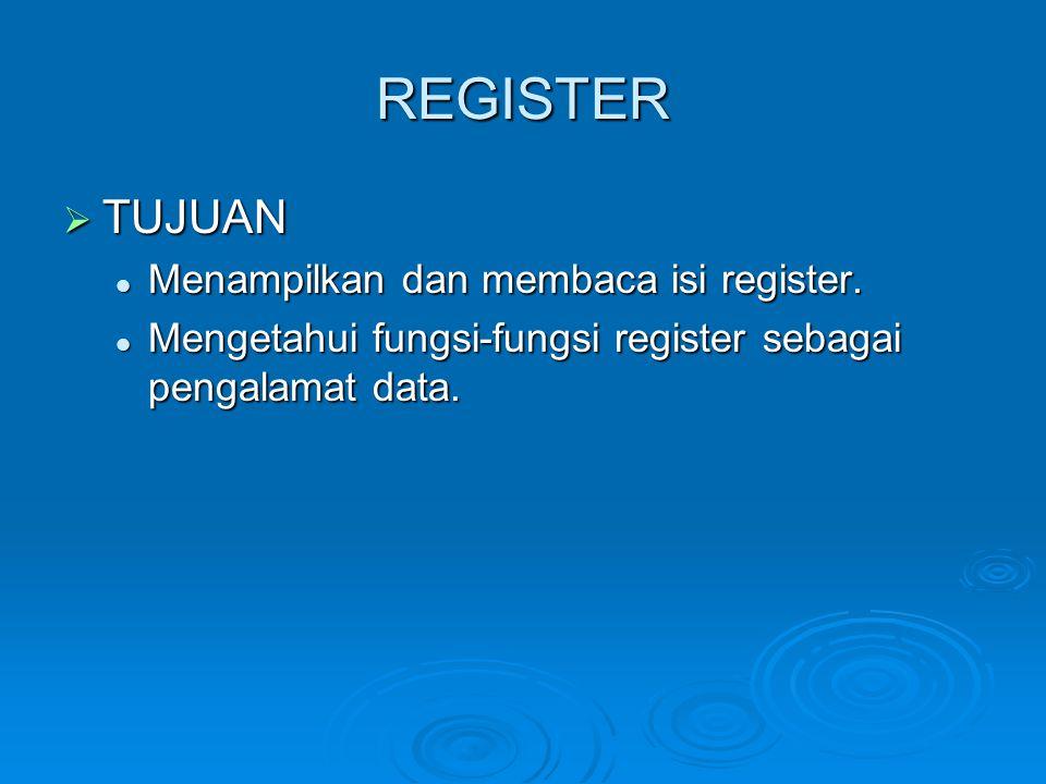 REGISTER TUJUAN Menampilkan dan membaca isi register.