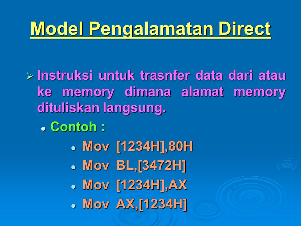 Model Pengalamatan Direct