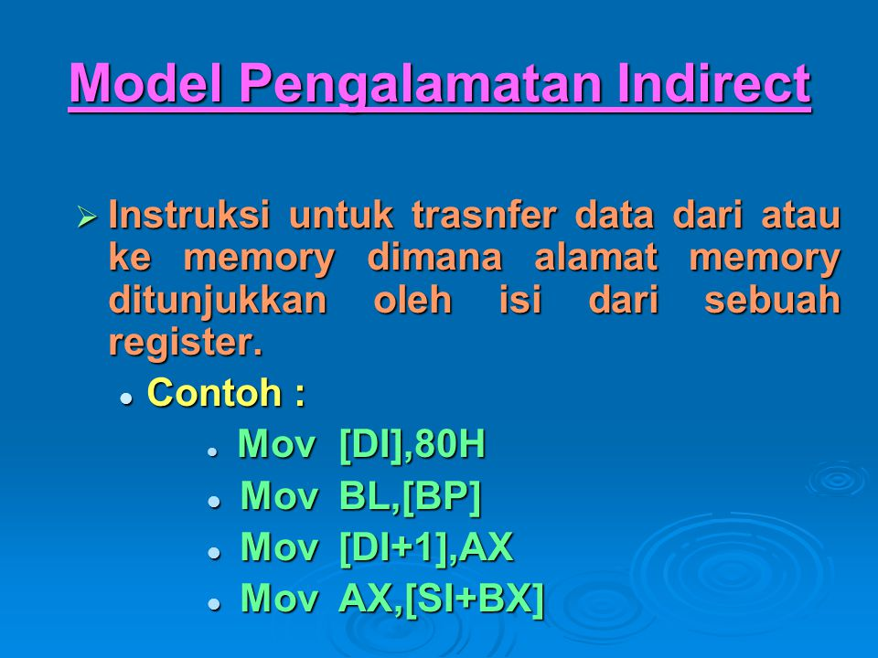 Model Pengalamatan Indirect