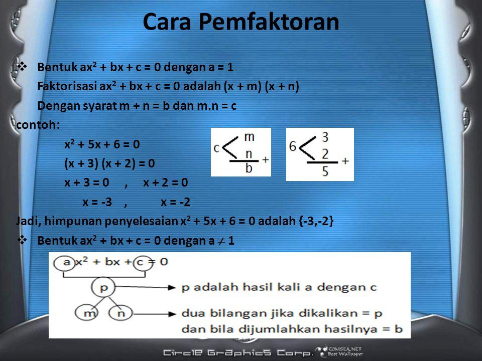 Cara Pemfaktoran Bentuk ax2 + bx + c = 0 dengan a = 1