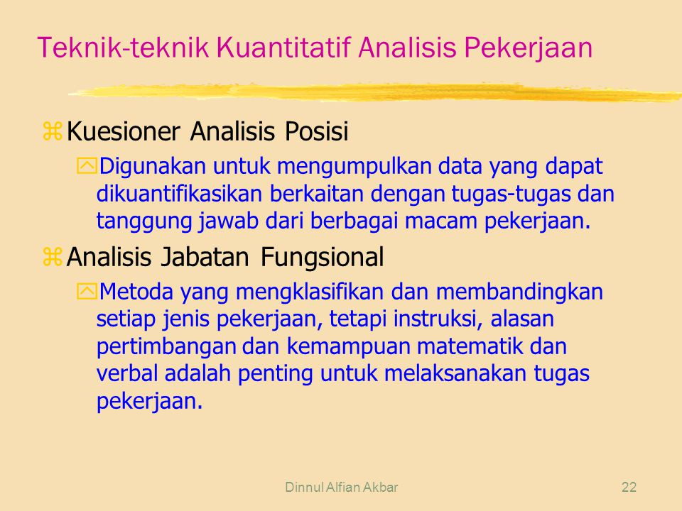 Teknik-teknik Kuantitatif Analisis Pekerjaan