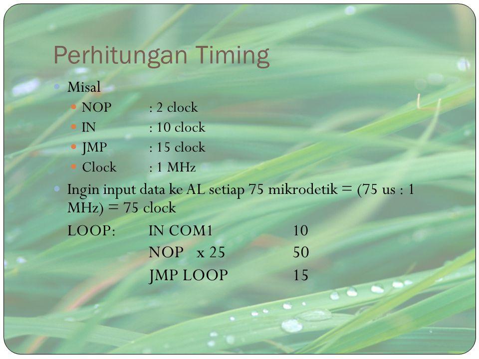 Perhitungan Timing NOP x 25 50 JMP LOOP 15 Misal