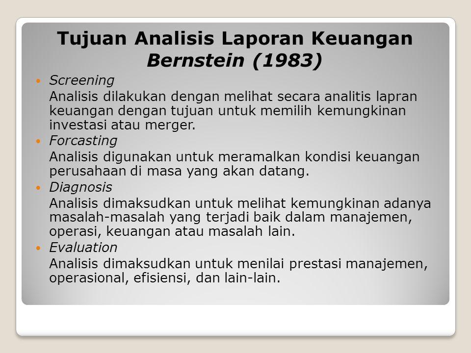 Tujuan Analisis Laporan Keuangan Bernstein (1983)