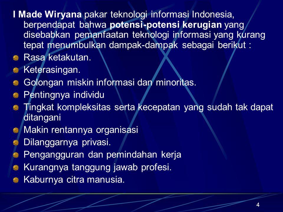 I Made Wiryana pakar teknologi informasi Indonesia, berpendapat bahwa potensi-potensi kerugian yang disebabkan pemanfaatan teknologi informasi yang kurang tepat menumbulkan dampak-dampak sebagai berikut :