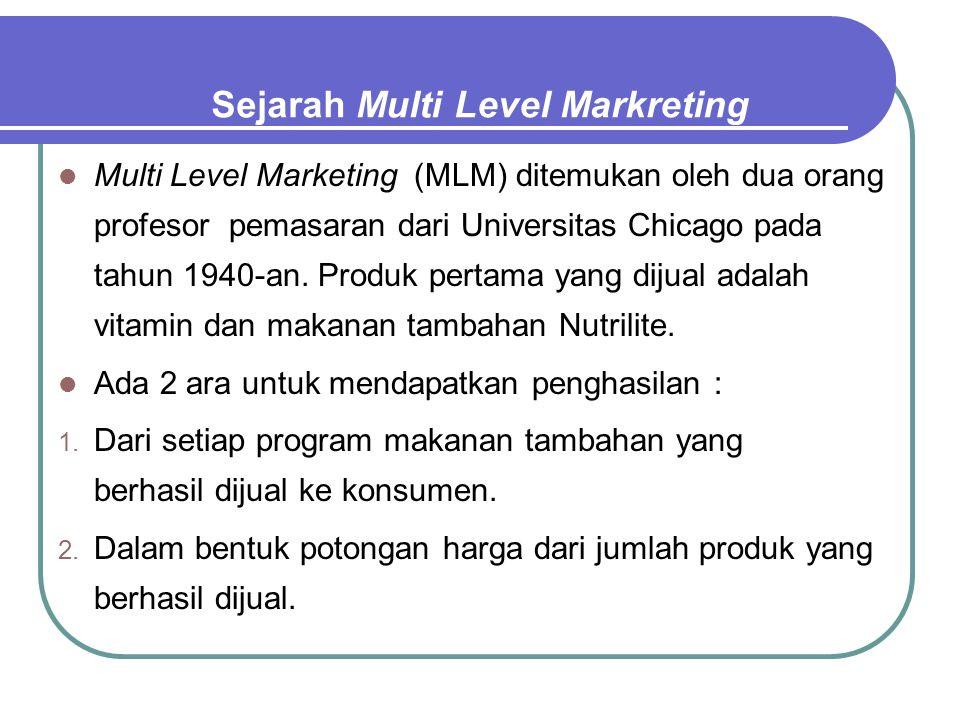 Sejarah Multi Level Markreting