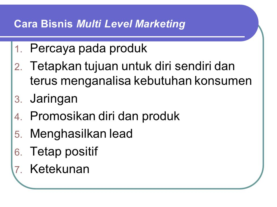 Cara Bisnis Multi Level Marketing