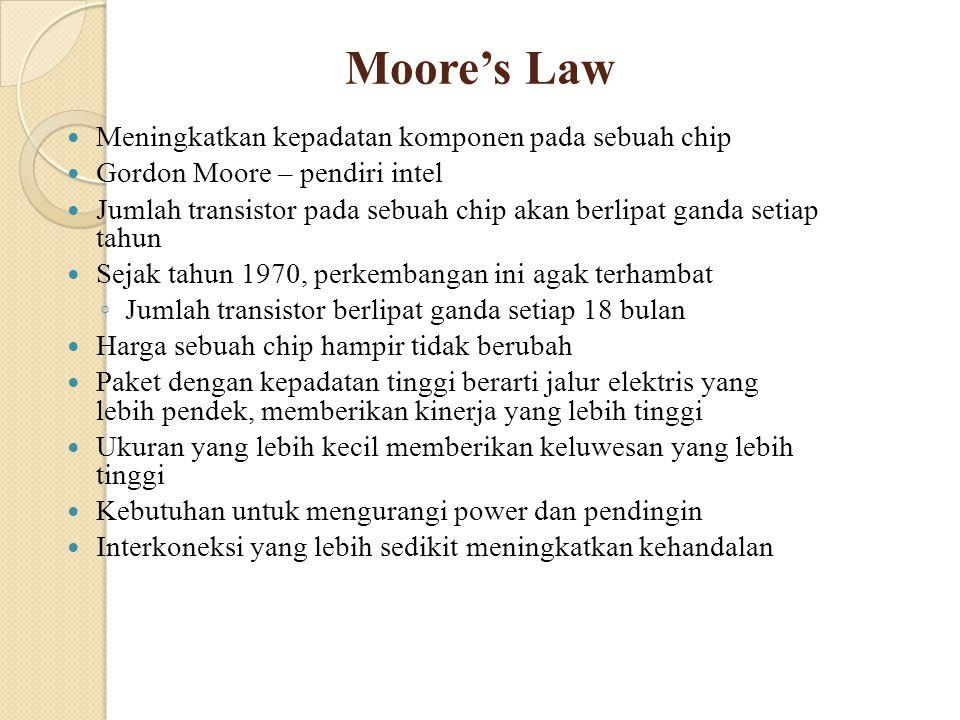 Moore's Law Meningkatkan kepadatan komponen pada sebuah chip
