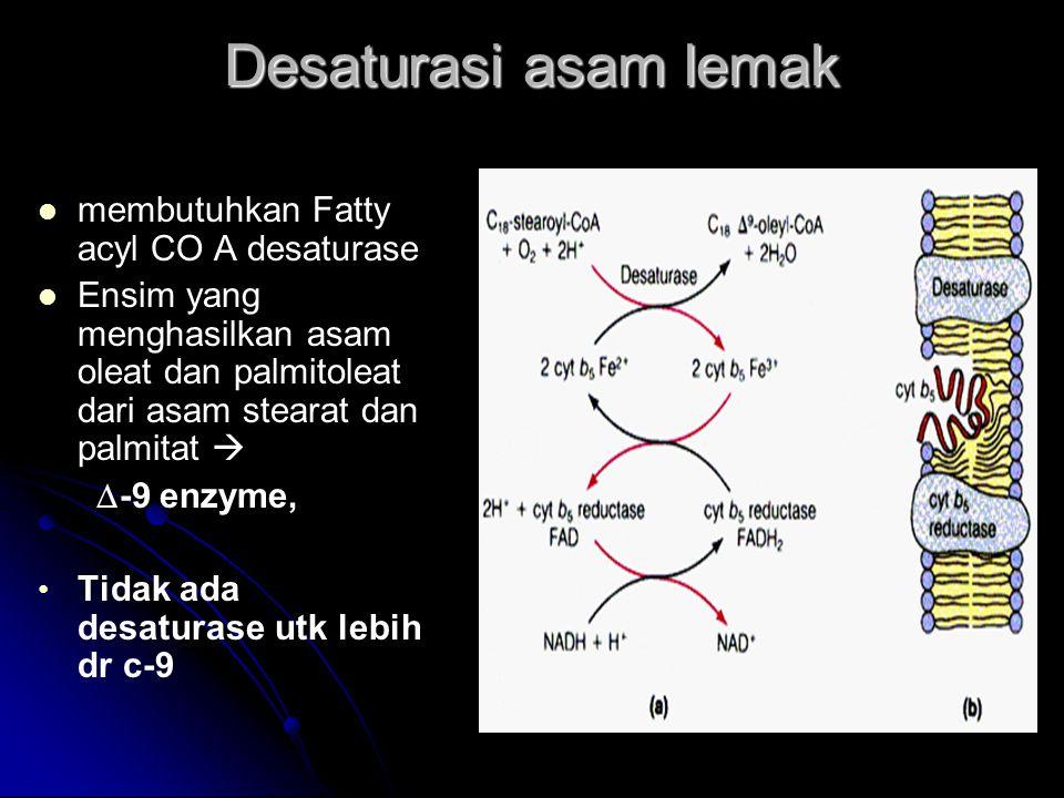 Desaturasi asam lemak membutuhkan Fatty acyl CO A desaturase