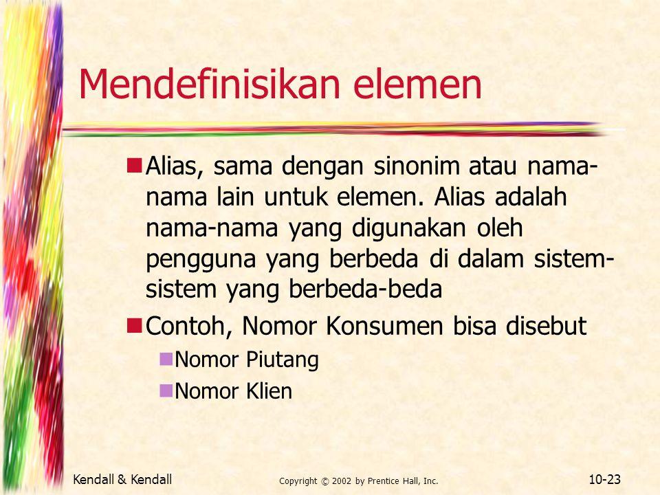 Mendefinisikan elemen