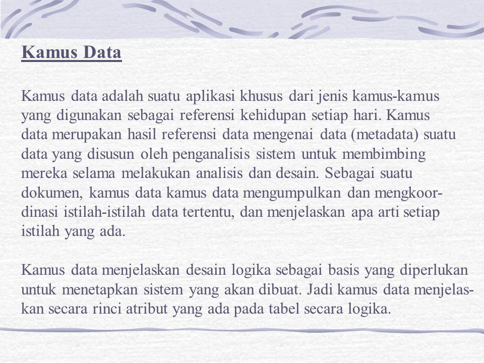 Kamus Data Kamus data adalah suatu aplikasi khusus dari jenis kamus-kamus. yang digunakan sebagai referensi kehidupan setiap hari. Kamus.