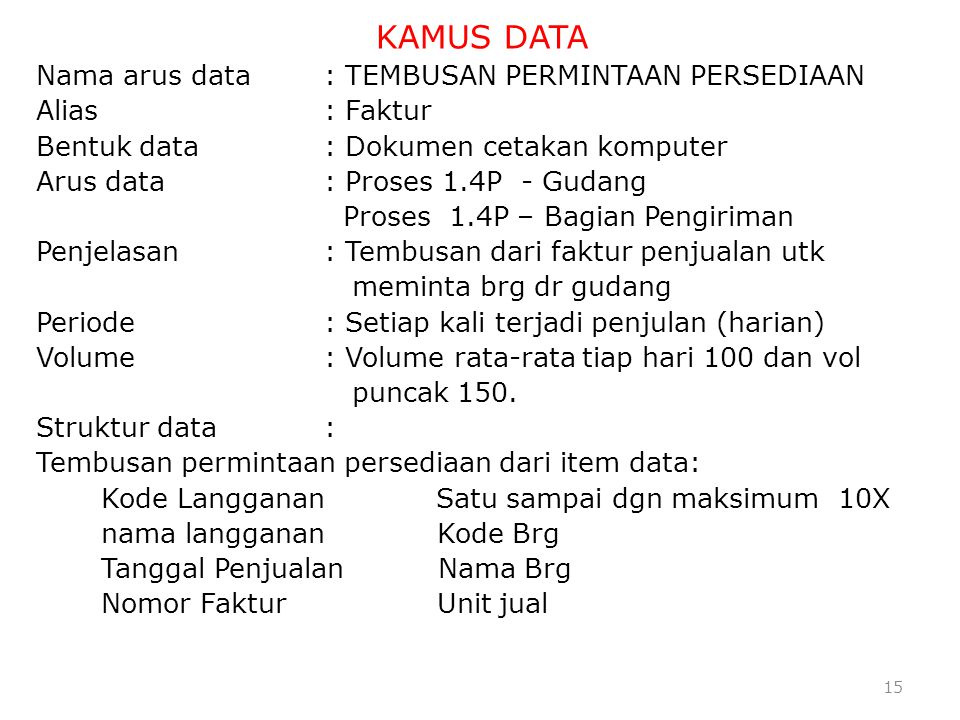 KAMUS DATA Nama arus data : TEMBUSAN PERMINTAAN PERSEDIAAN