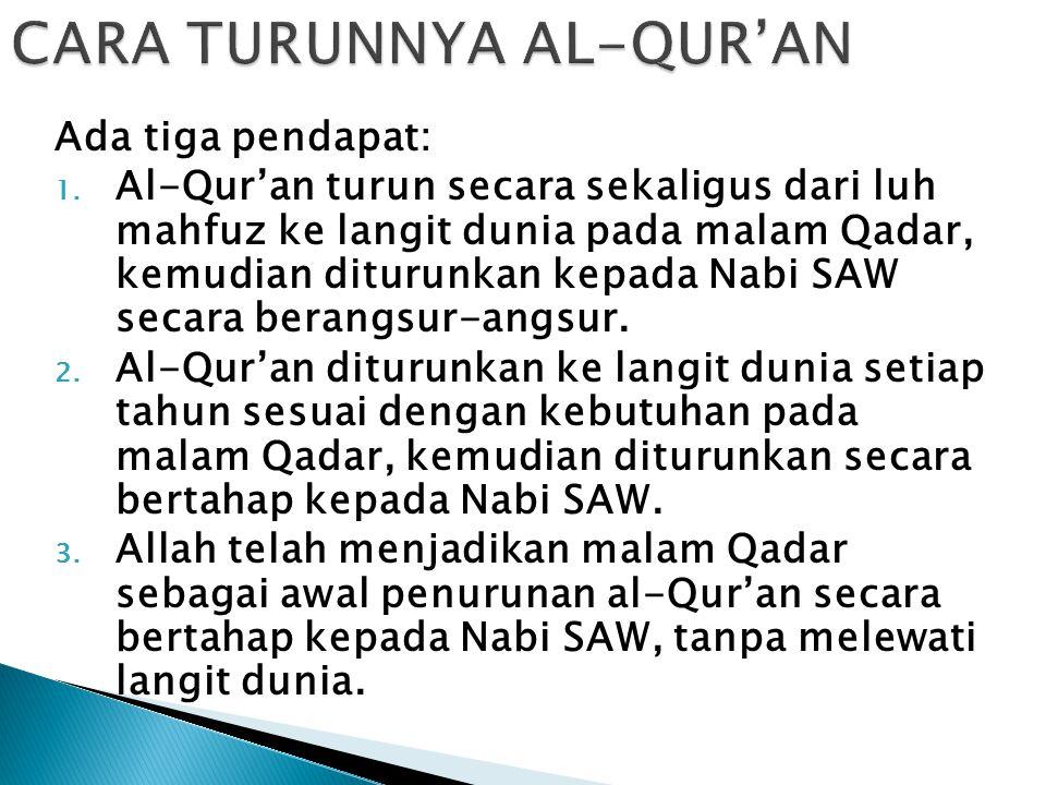 CARA TURUNNYA AL-QUR'AN
