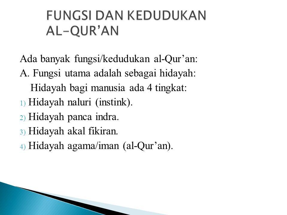 FUNGSI DAN KEDUDUKAN AL-QUR'AN