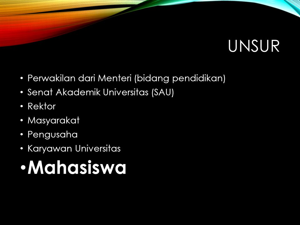 Mahasiswa Unsur Perwakilan dari Menteri (bidang pendidikan)