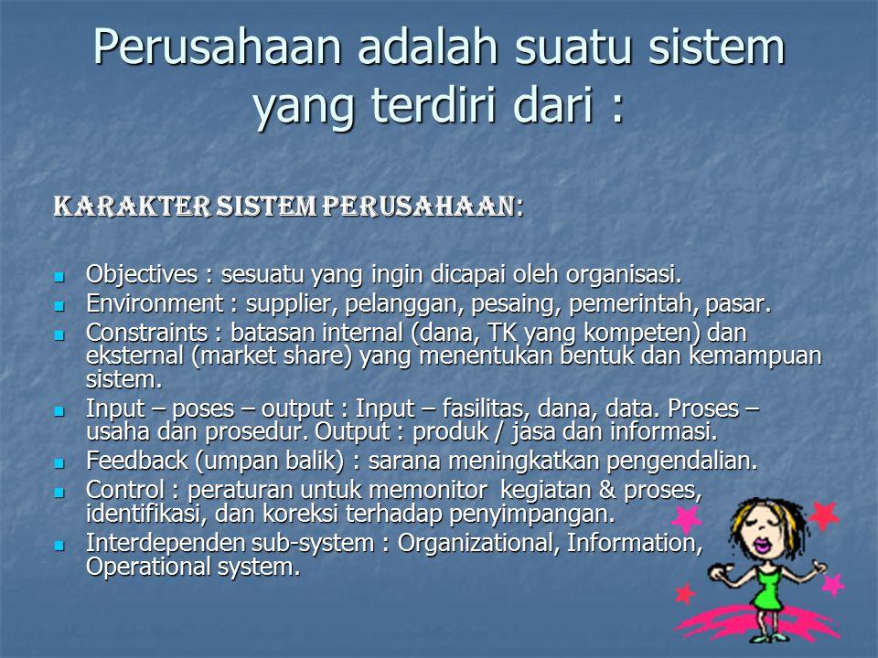 Perusahaan adalah suatu sistem yang terdiri dari :