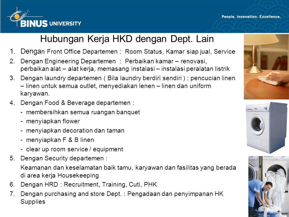 Hubungan Kerja HKD dengan Dept. Lain