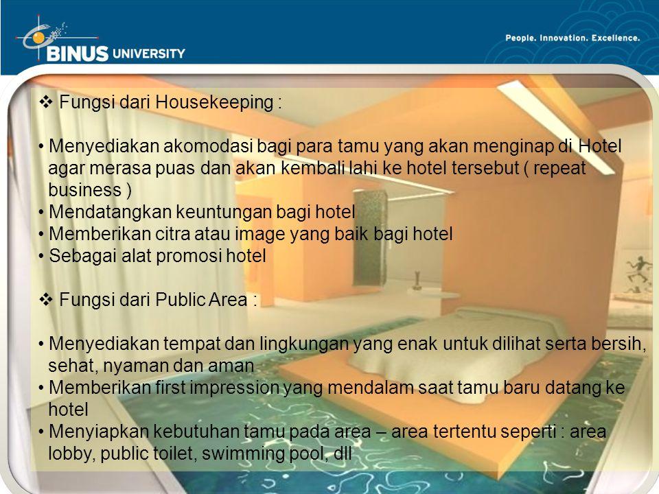 Peran dari Housekeeping :