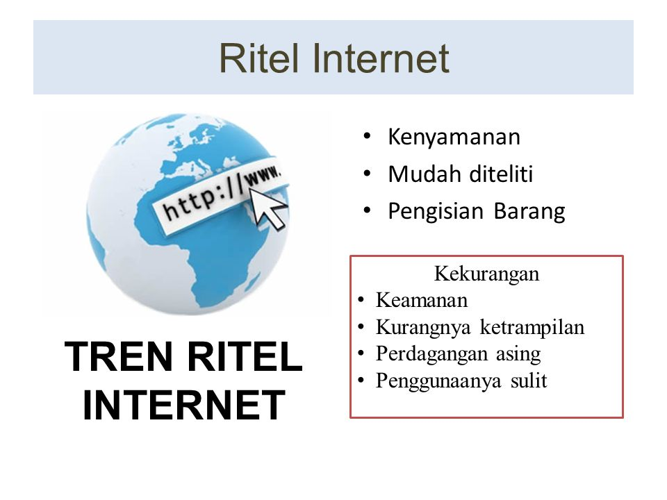 Ritel Internet TREN RITEL INTERNET Kenyamanan Mudah diteliti